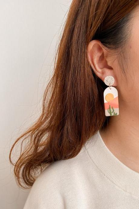 Wonderland Series-Luna | Polymer Clay Drop Earring, Dangle Earring, Handmade Jewelry, Gifts For Her, Desert, Sunset, Illustration Art