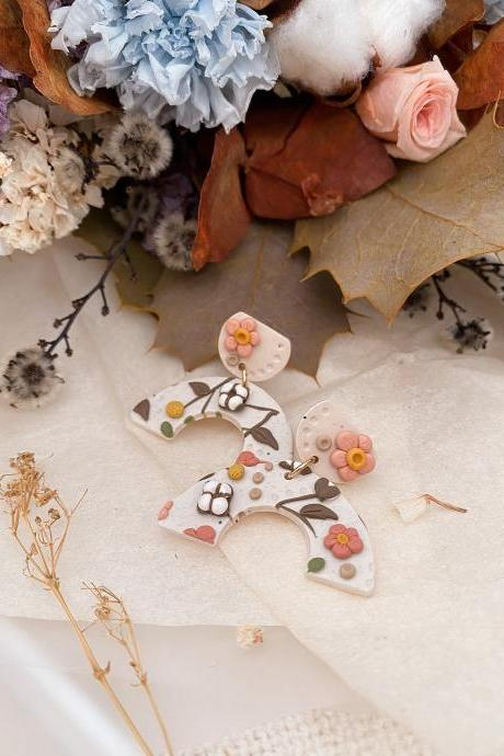 Cotton Flower U-Dangle | Polymer Clay Earrings, Statement Earrings, Handmade Jewelry, Floral Jewelry, Gifts For Her,Floral,Flower,Neutral